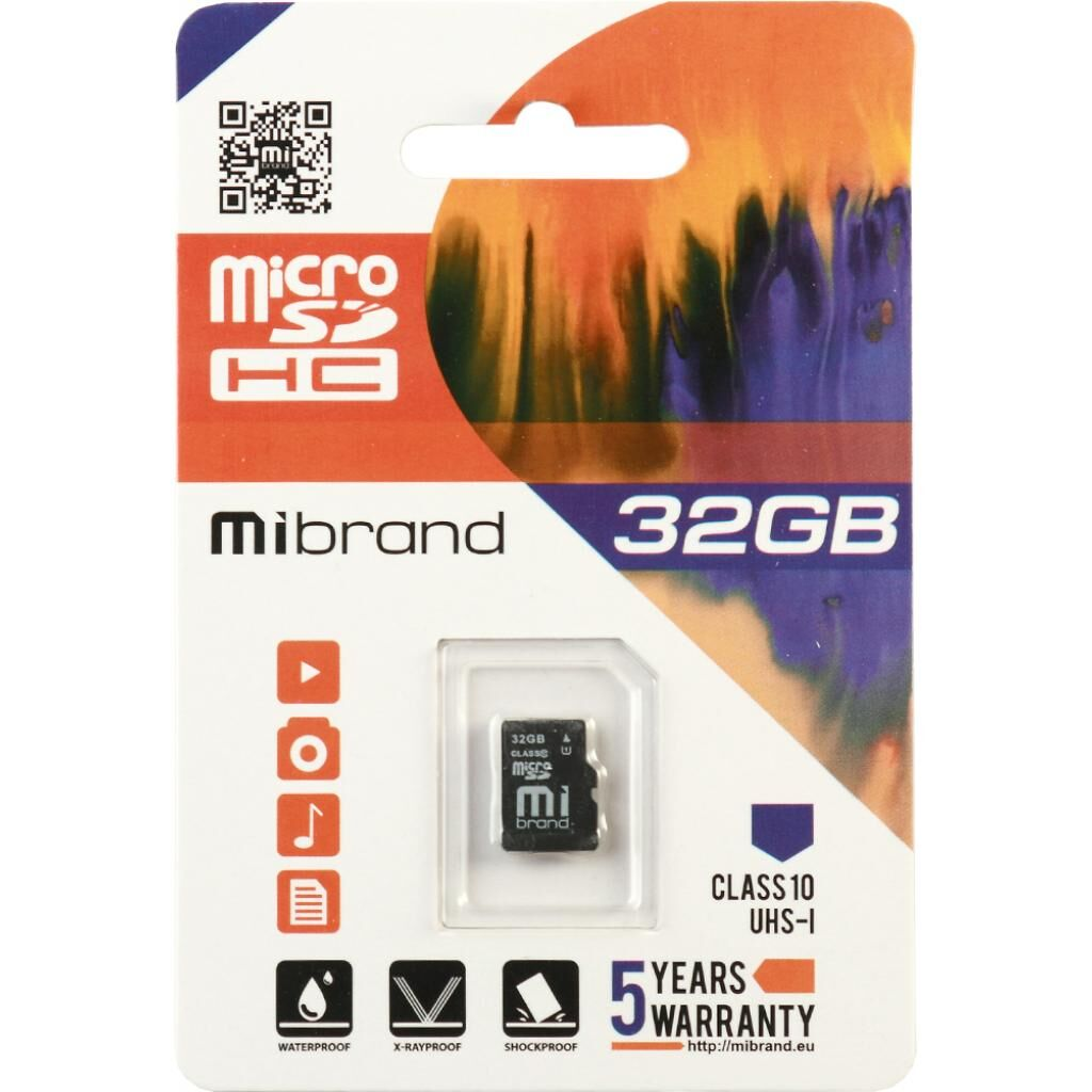 Карта памяти Mibrand 32GB microSDHC class 10 UHS-I (MICDHU1/32GB)