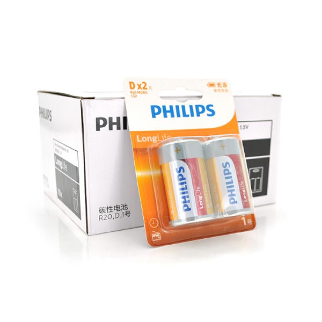Батарейка Philips D Super Heavy Duty R20, 2pcs/card (R20L2FT/93)