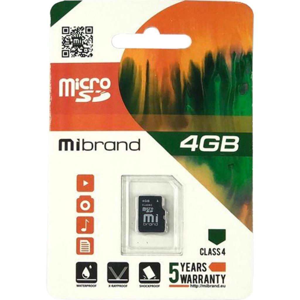 Карта памяти Mibrand 4GB microSDHC class 4 (MICDC4/4GB)
