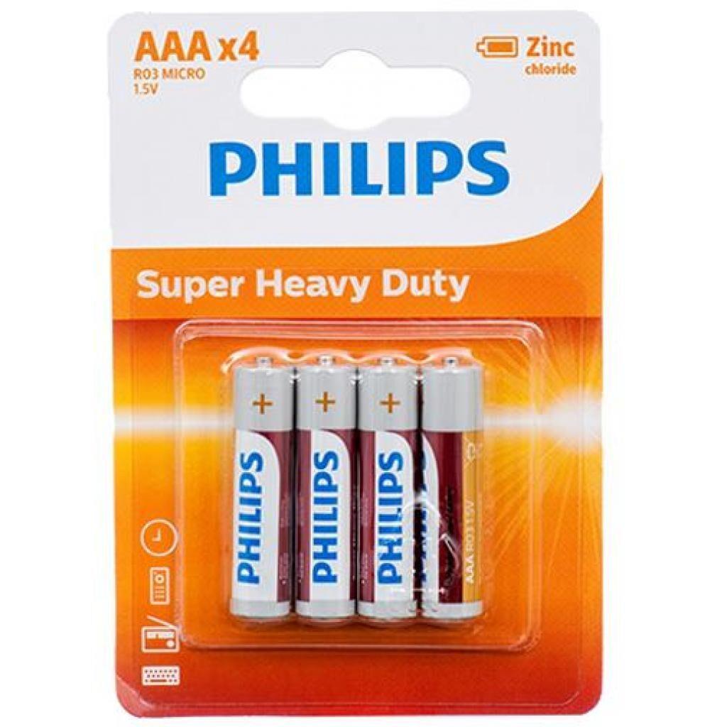 Батарейка Philips AAA R03 LongLife Zinc Carbon * 4 (R03L4B/10)