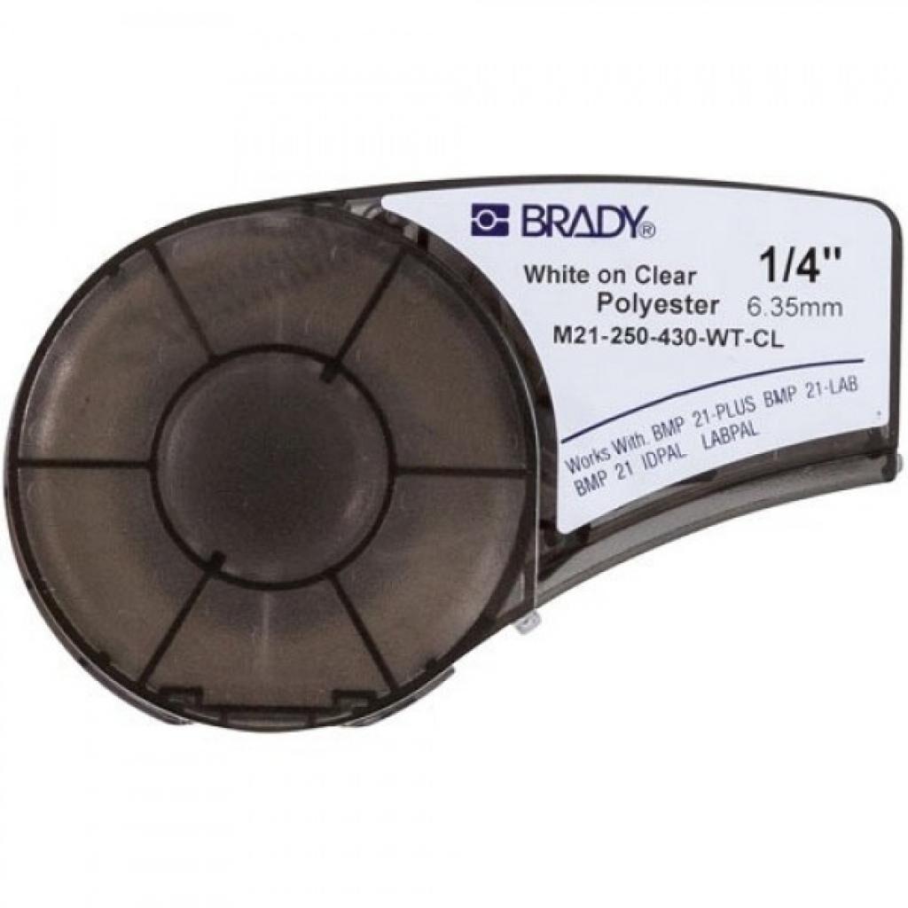 Лента для принтера этикеток Brady полиэстр, 6.35mm/6.4m. Белый на Прозрачном (M21-250-430-WT-CL)