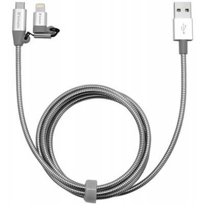 Дата кабель USB 2.0 AM to Lightning + Micro 5P 1.0m silver Verbatim (48869)