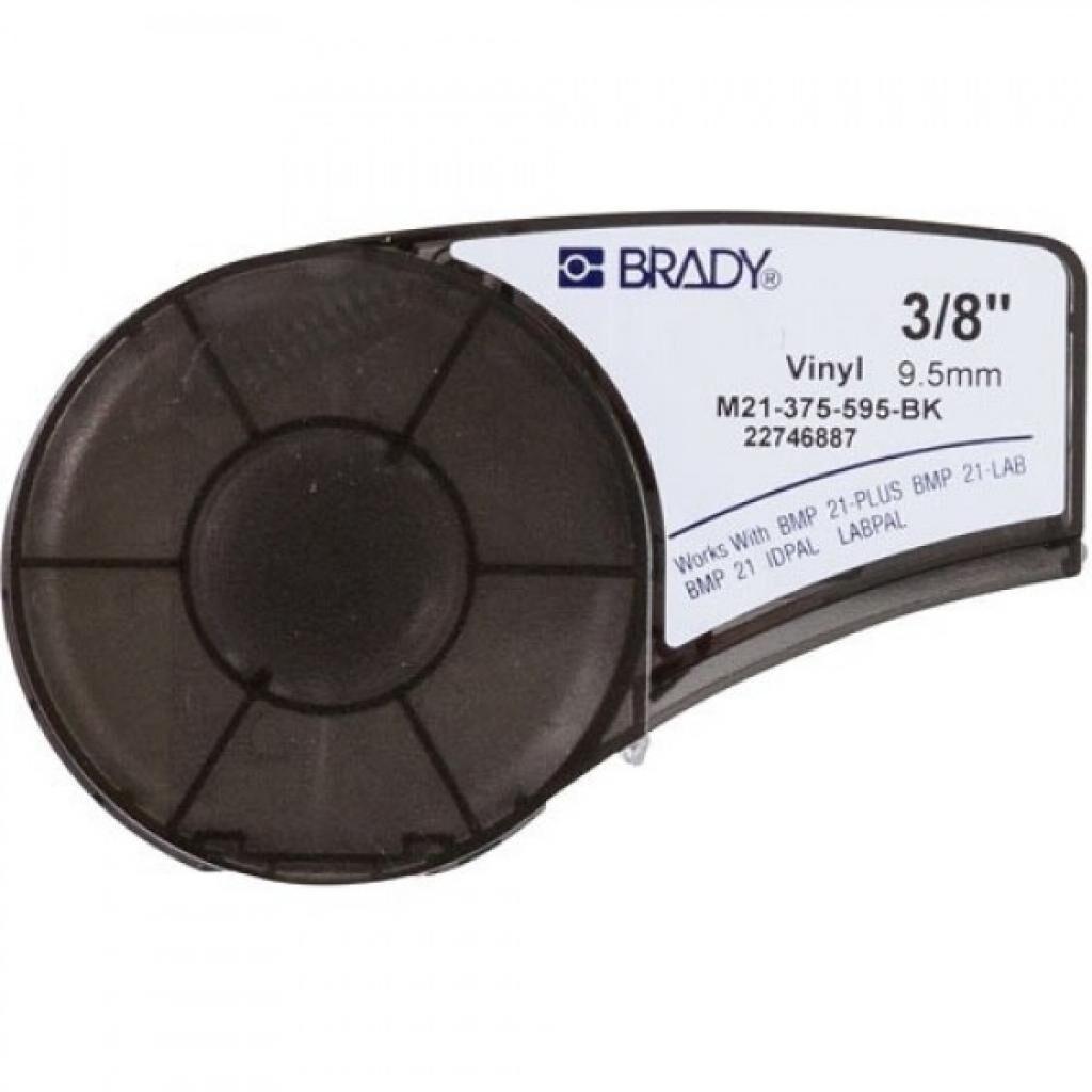 Лента для принтера этикеток Brady винил, 9.53mm/6.4m. Белый на Черном (M21-375-595-BK)