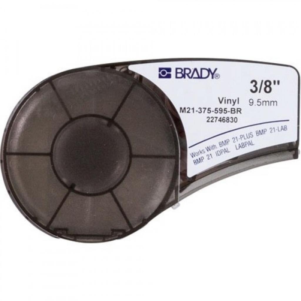 Лента для принтера этикеток Brady винил, 9.53mm/6.4m. Белый на Коричневом (M21-375-595-BR)