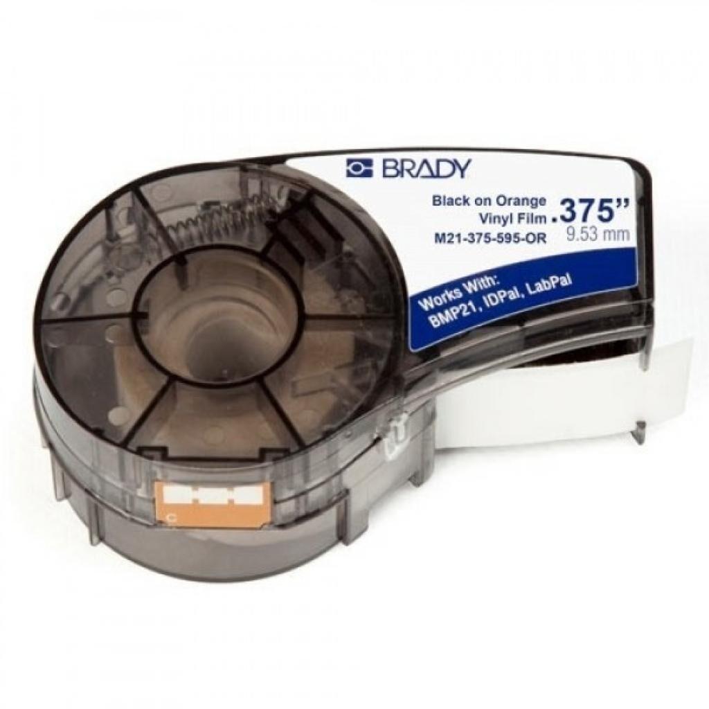 Лента для принтера этикеток Brady винил, 9.53mm/6.4m. Черный на оранжевом. (M21-375-595-OR)