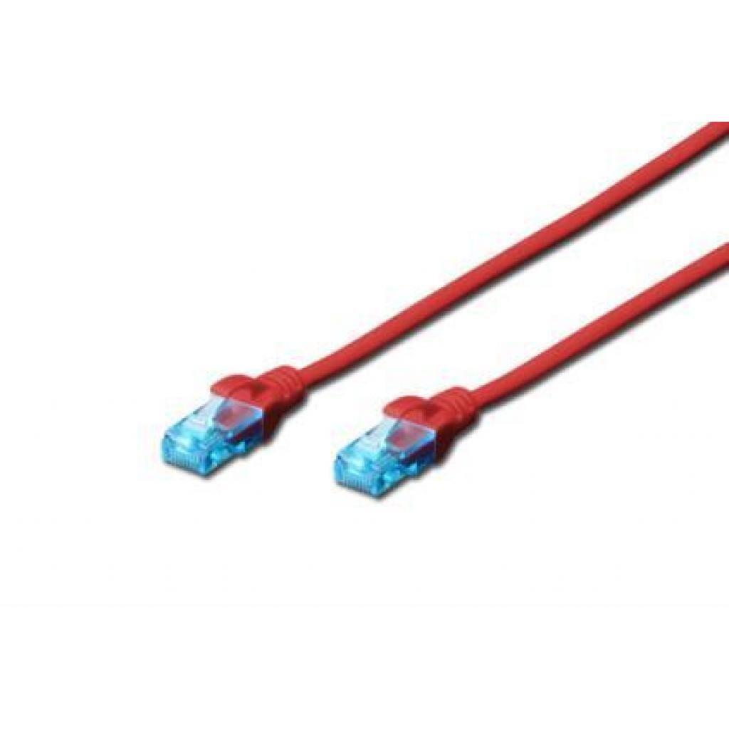 Патч-корд 0.5м, UTP, cat.5e, CCA, red DIGITUS (DK-1512-005/R)
