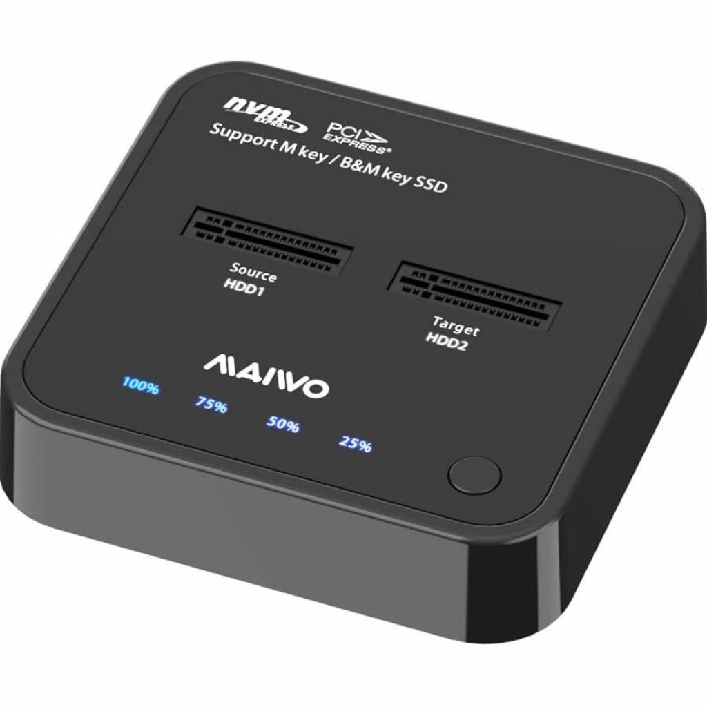 Док-станция Maiwo 2*NVMe M.2 SSD Key M/B+M USB 3.1 Gen2 Type-C (K3016P)