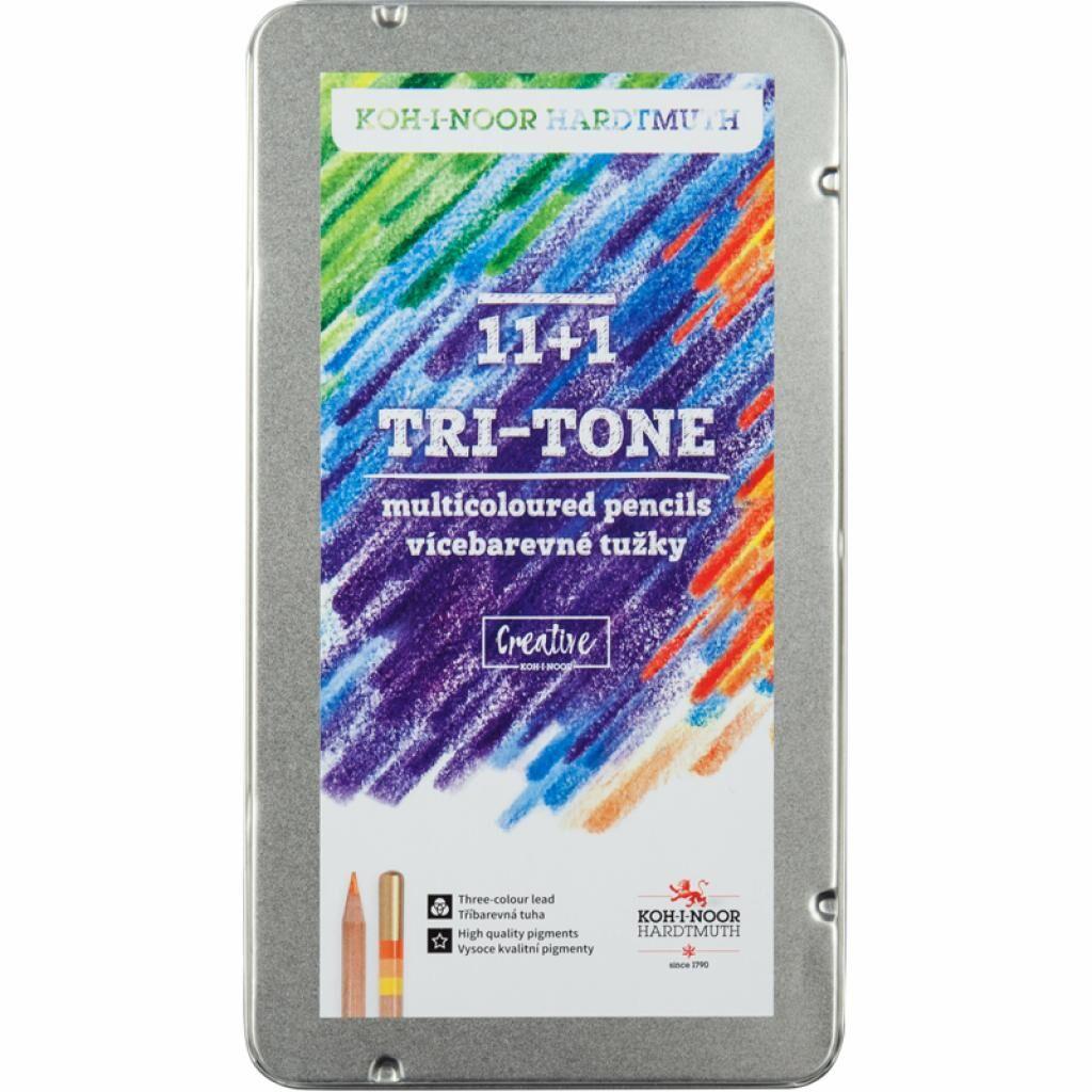 Карандаши цветные Koh-i-Noor Tri-Tone 11 цветов + 1 карандаш-блендер в метал. пенале (3442)