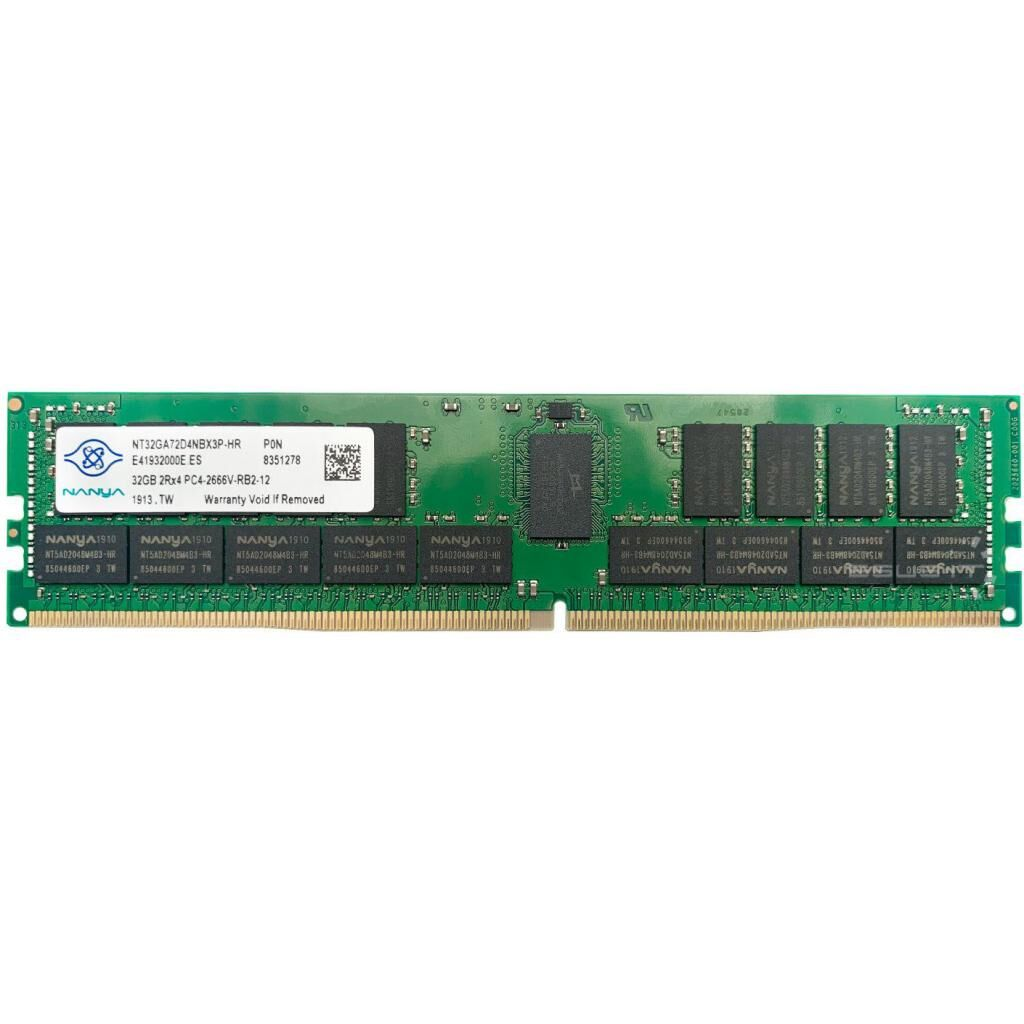 Модуль памяти для сервера DDR4 32GB ECC RDIMM 2933MHz 2Rx4 1.2V CL21 Nanya_DRAM (NT32GA72D4NBX3P-IX)
