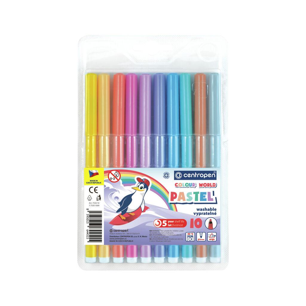 Фломастеры Centropen набор пастельных 10 цветов (7550/1009 TP)