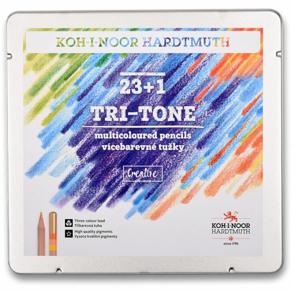 Карандаши цветные Koh-i-Noor Tri-Tone 23 цветов + 1 карандаш-блендер в металлическом пена (3444)