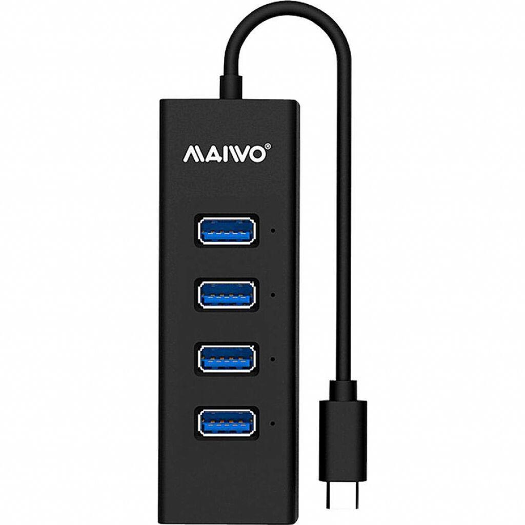 Концентратор Maiwo USB Type-C to 4х USB3.0 cable 15 cm (KH304C)