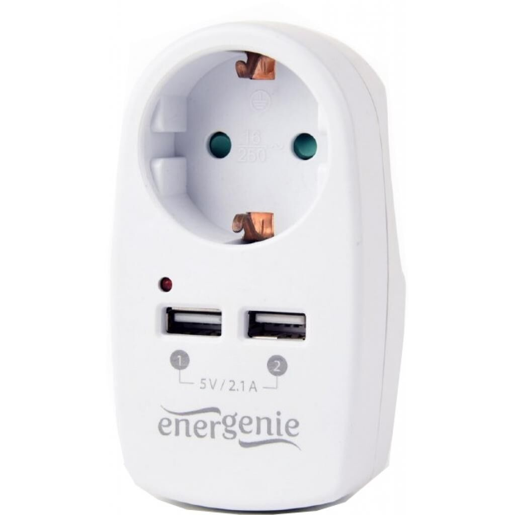 Зарядное устройство EnerGenie 2 USB x 2.1A (EG-ACU2-02)