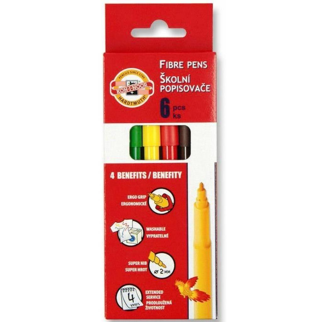 Фломастеры Koh-i-Noor Fibre pens 1002, 06 colors, картон (771002JF08KS)