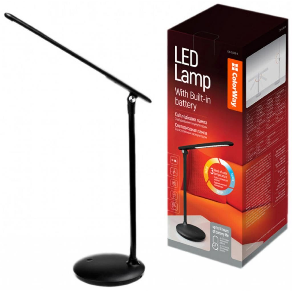 Настольная лампа ColorWay 4W with built-in battery 1800 mAh USB in/out 5V*1A, black (CW-DL02B-B)