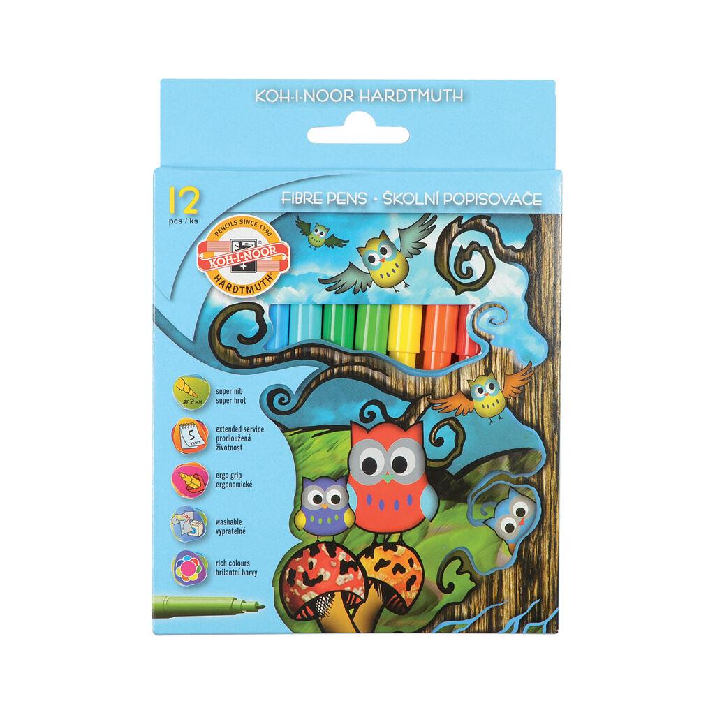Фломастеры Koh-i-Noor Совята, 12 цветов, картонная упаковка (1012CB/12)