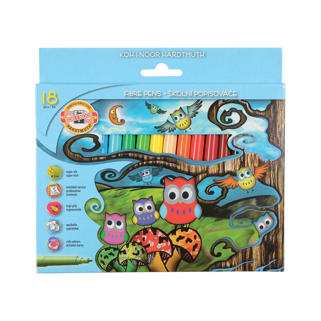 Фломастеры Koh-i-Noor Совята, 18 цветов, картонная упаковка (1012CB/18)