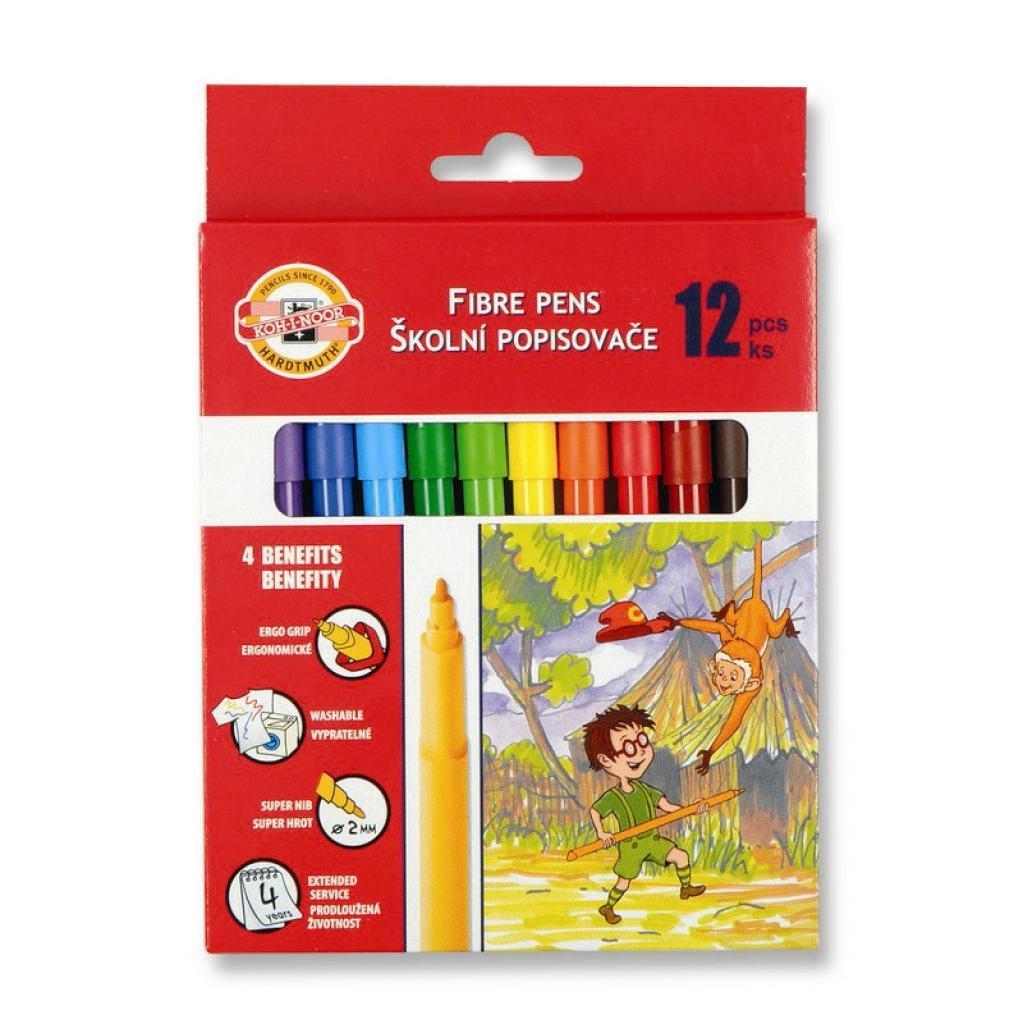 Фломастеры Koh-i-Noor Fibre pens 1002, 12 colors, картон (771002AB08KS)