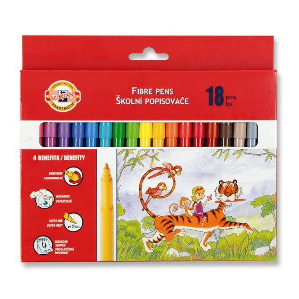 Фломастеры Koh-i-Noor Fibre pens 1002, 18 colors, картон (771002AH08KS)