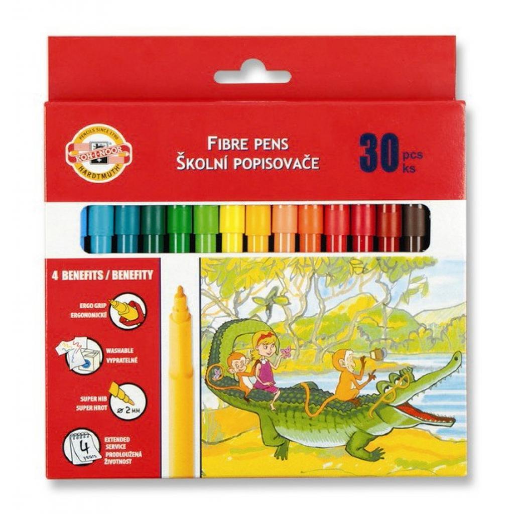 Фломастеры Koh-i-Noor Fibre pens 1002, 30 colors, картон (771002CJ08KS)