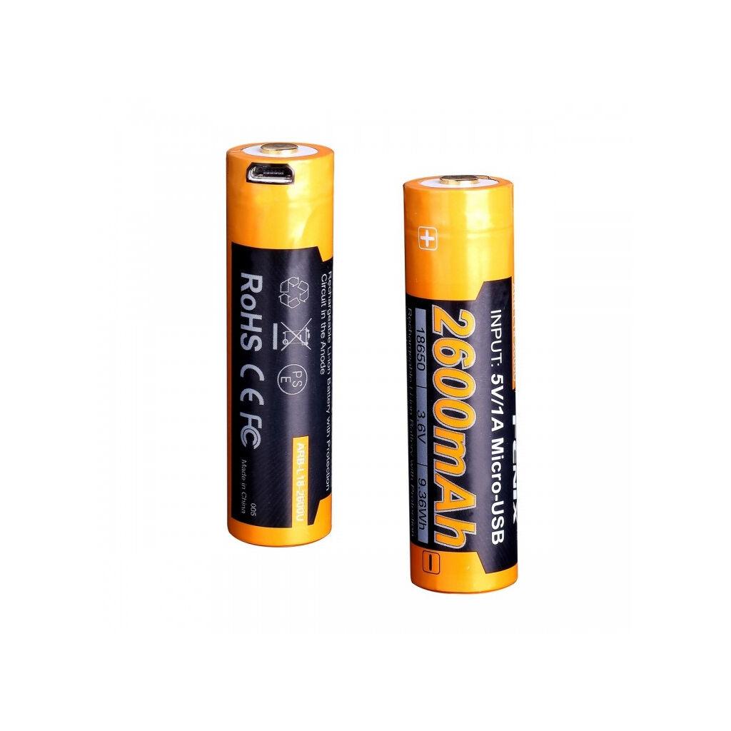Аккумулятор Fenix 18650  2600 mAh micro usb зарядка (ARB-L18-2600U)