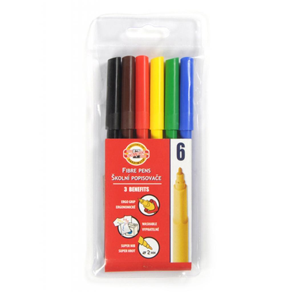 Фломастеры Koh-i-Noor Fibre pens 1002, 06 colors, polyethylene (771002JF01TE)