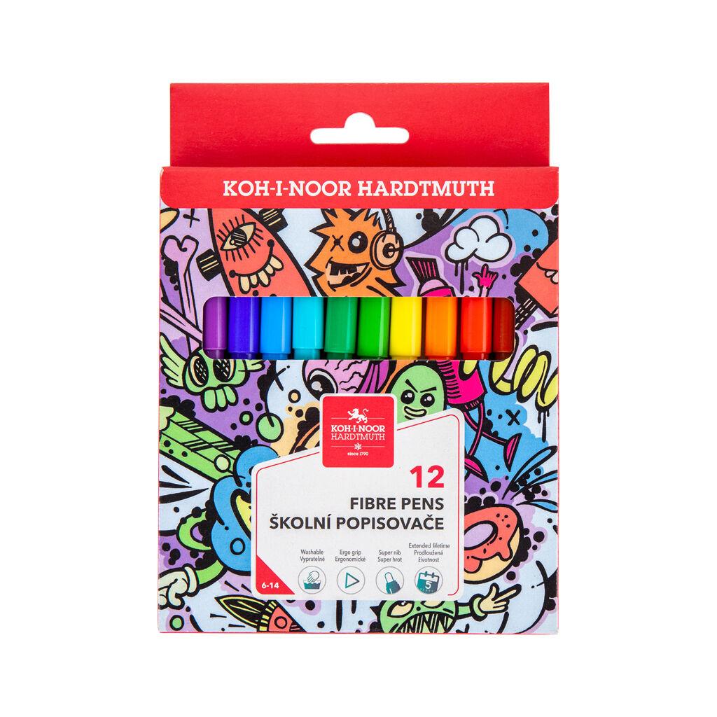 Фломастеры Koh-i-Noor Teenage, 12 цветов, картонная упаковка (771002/12)