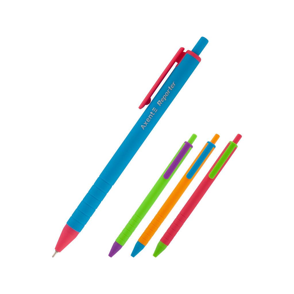 Ручка масляная Axent Reporter Color автоматическая Синяя 0.7 мм (AB1069-02-A)