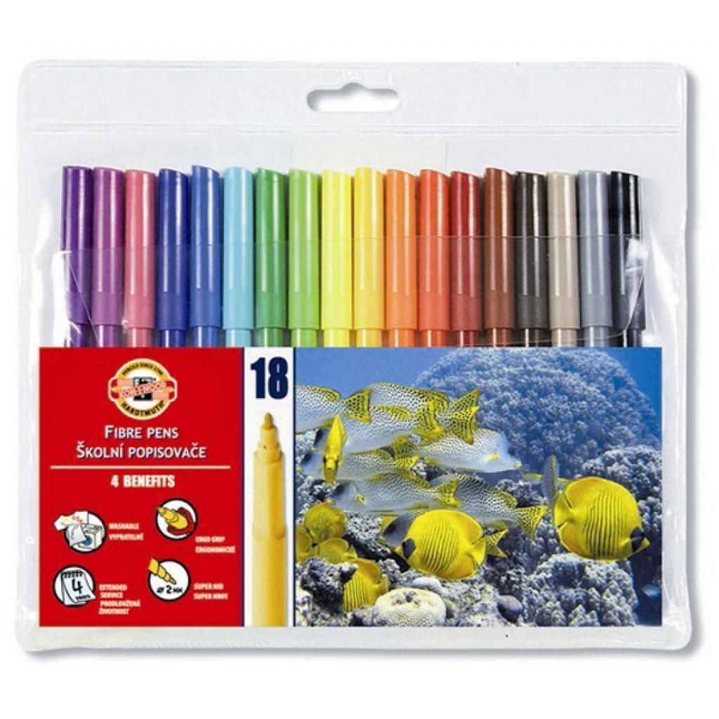 Фломастеры Koh-i-Noor Fibre pens 1002, 18 colors, polyethylene (771002AH01TE)