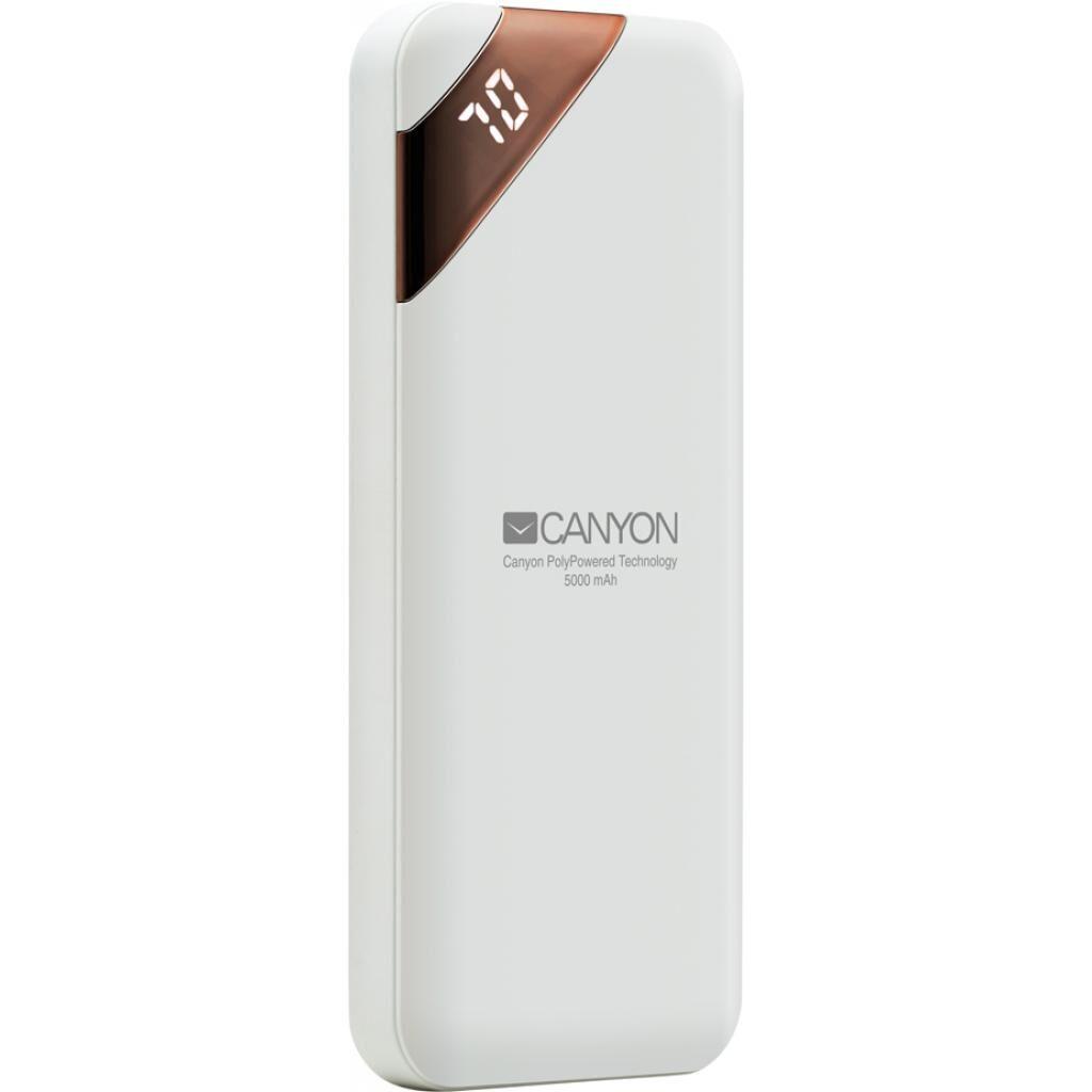 Батарея универсальная CANYON 5000mAh, Input 5V/2A, Output 5V/2.1A, White (CNE-CPBP5W)