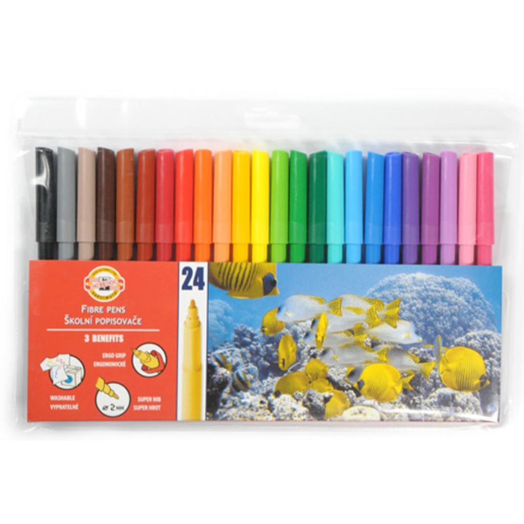 Фломастеры Koh-i-Noor Fibre pens 1002, 24 colors, polyethylene (771002BD01TE)