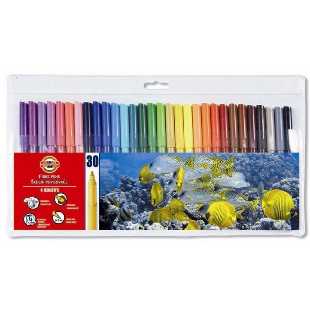 Фломастеры Koh-i-Noor Fibre pens 1002, 30 colors, polyethylene (771002CJ01TE)
