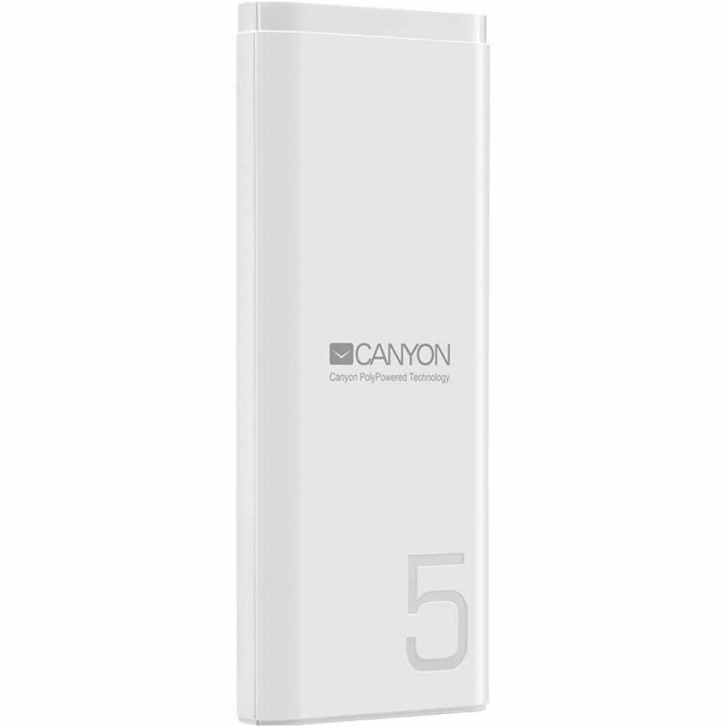 Батарея универсальная Canyon PB-53 5000mAh, Input 5V/2A, Output 5V/2.1A, White (CNE-CPB05W)