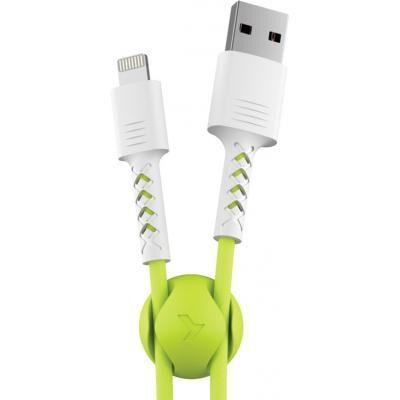 Дата кабель USB 2.0 AM to Lightning 1.0m Soft white/lime Pixus (4897058531183)