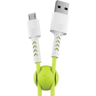Дата кабель USB 2.0 AM to Micro 5P 1.0m Soft white/lime Pixus (4897058531176)