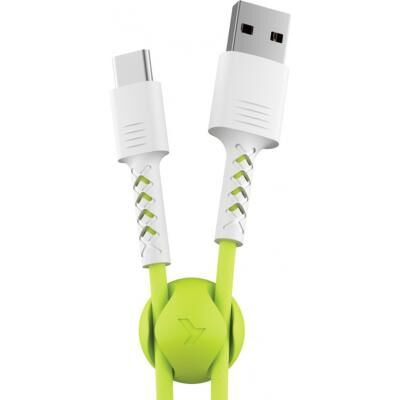 Дата кабель USB 2.0 AM to Type-C 1.0m Soft white/lime Pixus (4897058531169)