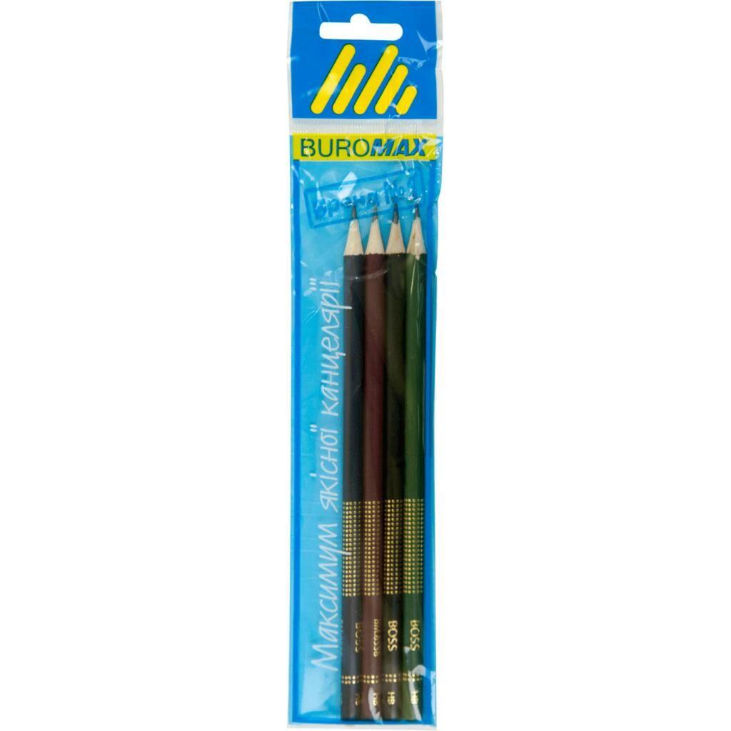 Карандаш графитный BUROMAX HB, BOSS, SET 4шт, assorted colors (BM.8538-4)