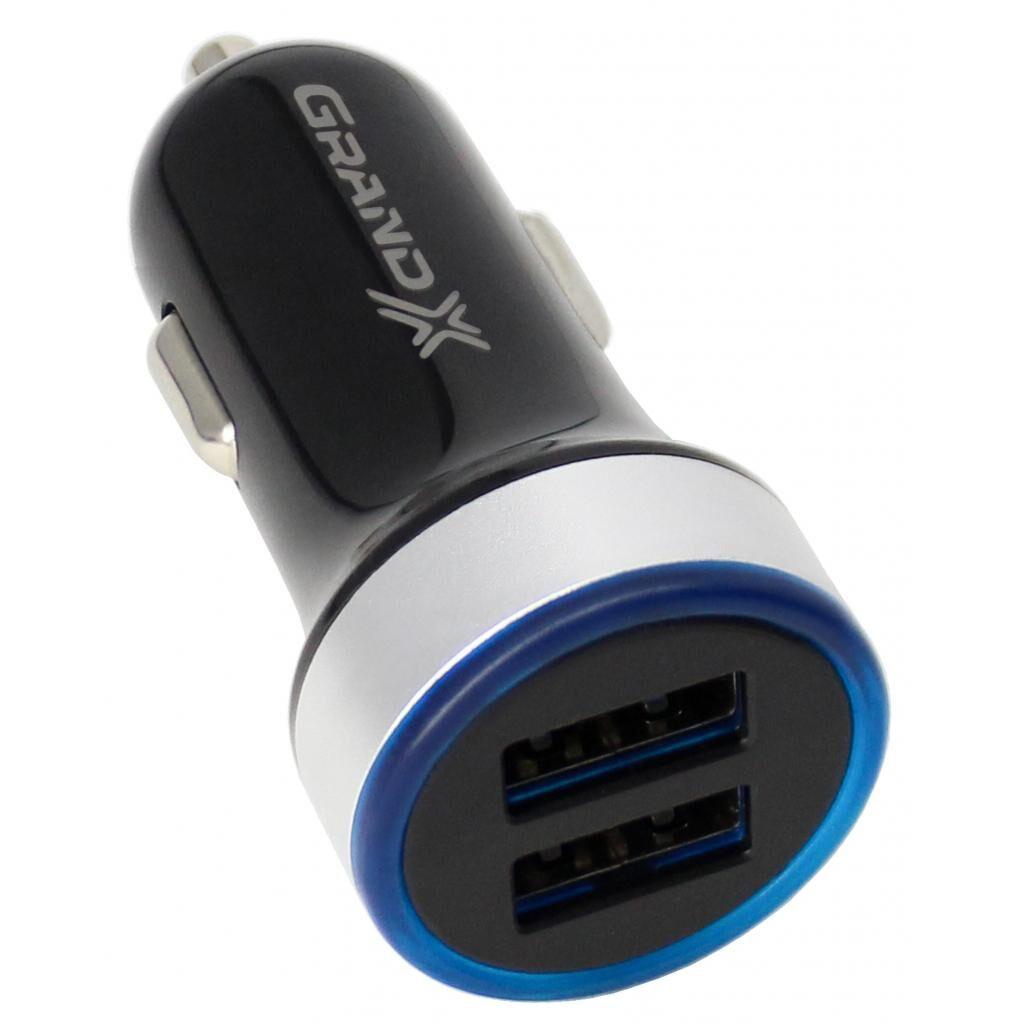 Зарядное устройство Grand-X Black 2USB 5V/2.4A (CH-06)