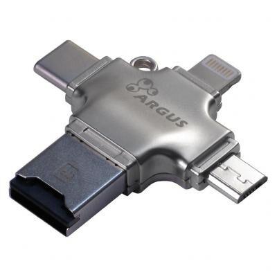 Считыватель флеш-карт Argus USB2.0/USB Type C/ Micro-USB/Lightning, TF (R-010)