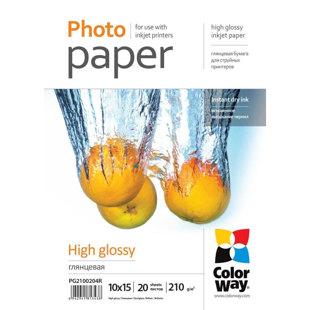 Бумага ColorWay 10х15 210г/м, Glossy, 20c, OEM (PG2100204R_OEM)