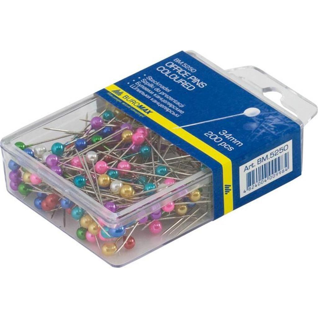 Кнопки BUROMAX office pins coloured, 200шт (BM.5250)