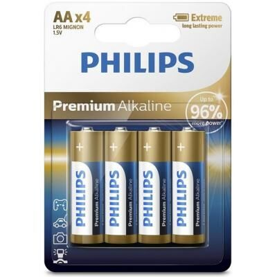 Батарейка PHILIPS AA LR6 Premium Alkaline * 4 (LR6M4B/10)