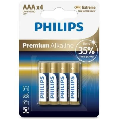 Батарейка PHILIPS AAA LR03 Premium Alkaline * 4 (LR03M4B/10)