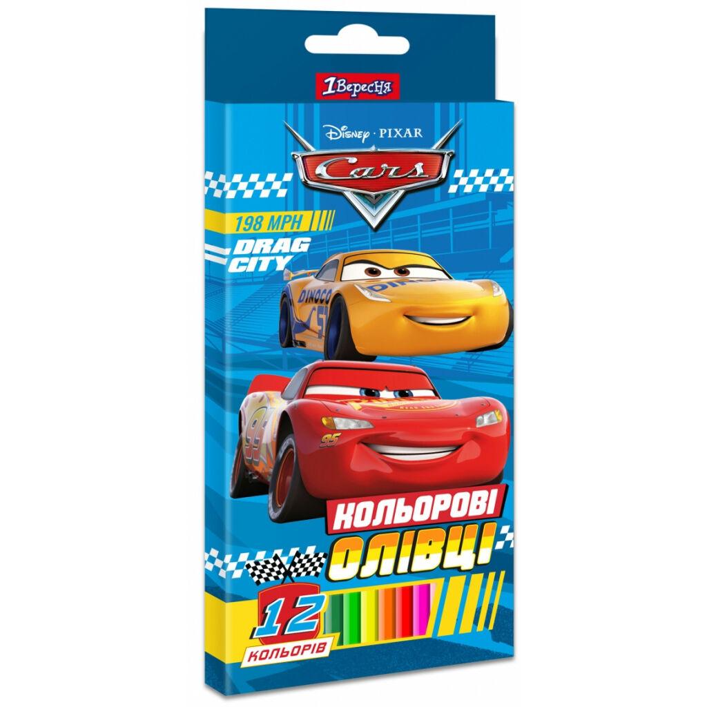 Карандаши цветные 1 вересня Cars пласт. корп. 12 цветов (290617)