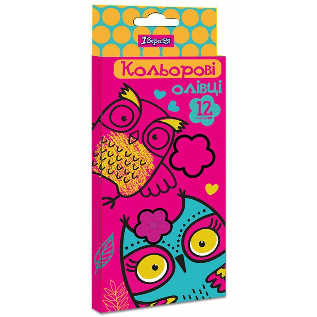 Карандаши цветные 1 вересня Owl пласт. корп. 12 цветов (290616)