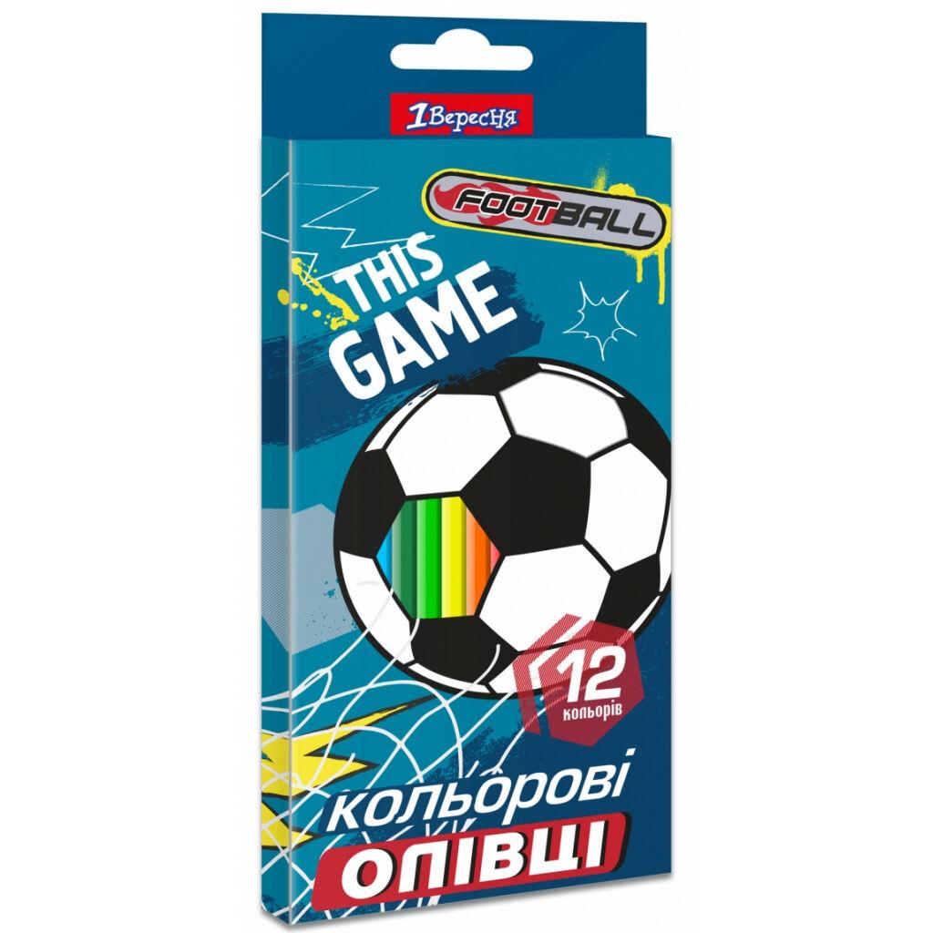 Карандаши цветные 1 вересня Team football пласт. корп. 12 цветов (290618)