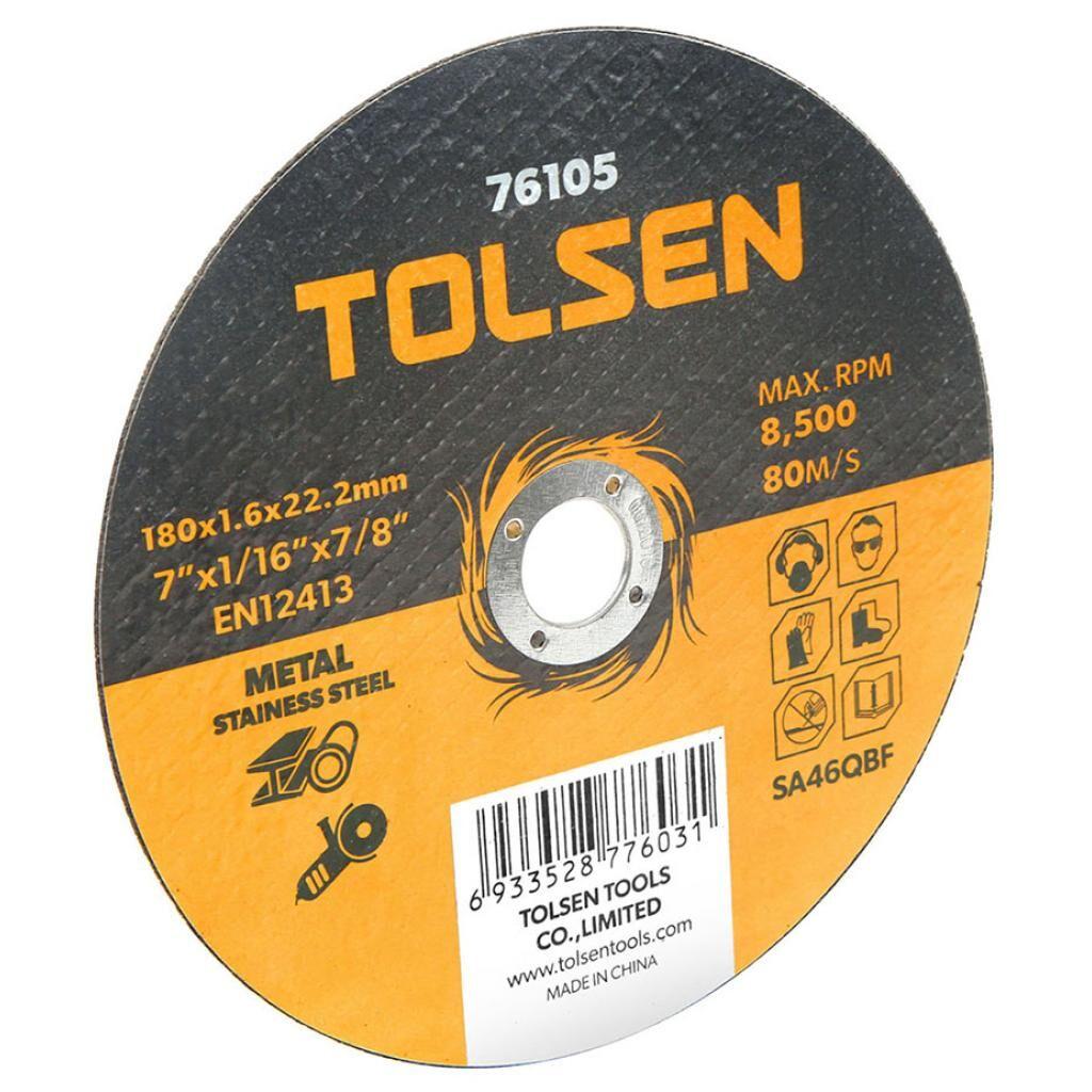 Диск Tolsen отрезной по металлу/нержавейке 180х1.6*22.2мм (76105)