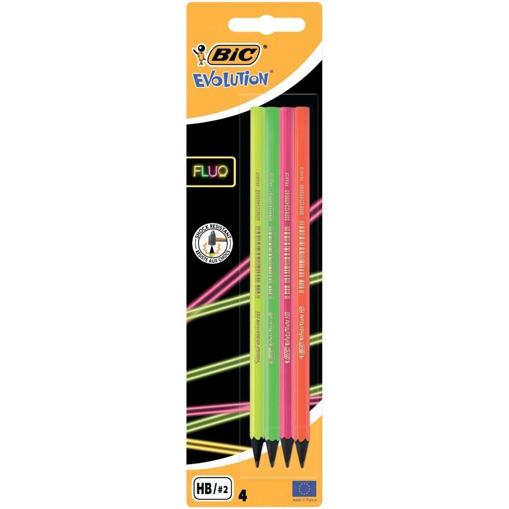 Карандаш графитный Bic Evolution Fluo HB в блистере, 4 шт (bc940758)