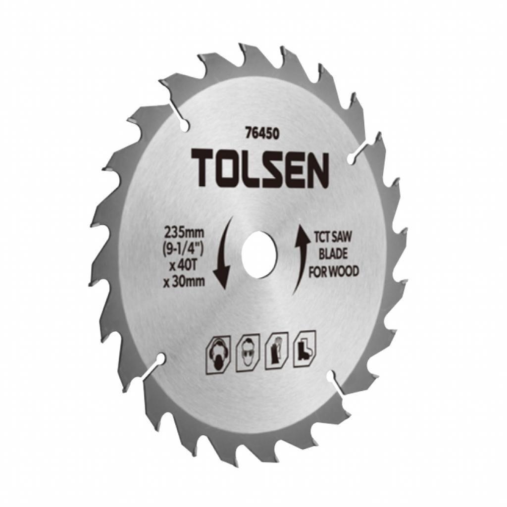 Диск Tolsen пильный с ТВС напайками по дереву 235х40Т*30мм (76450)