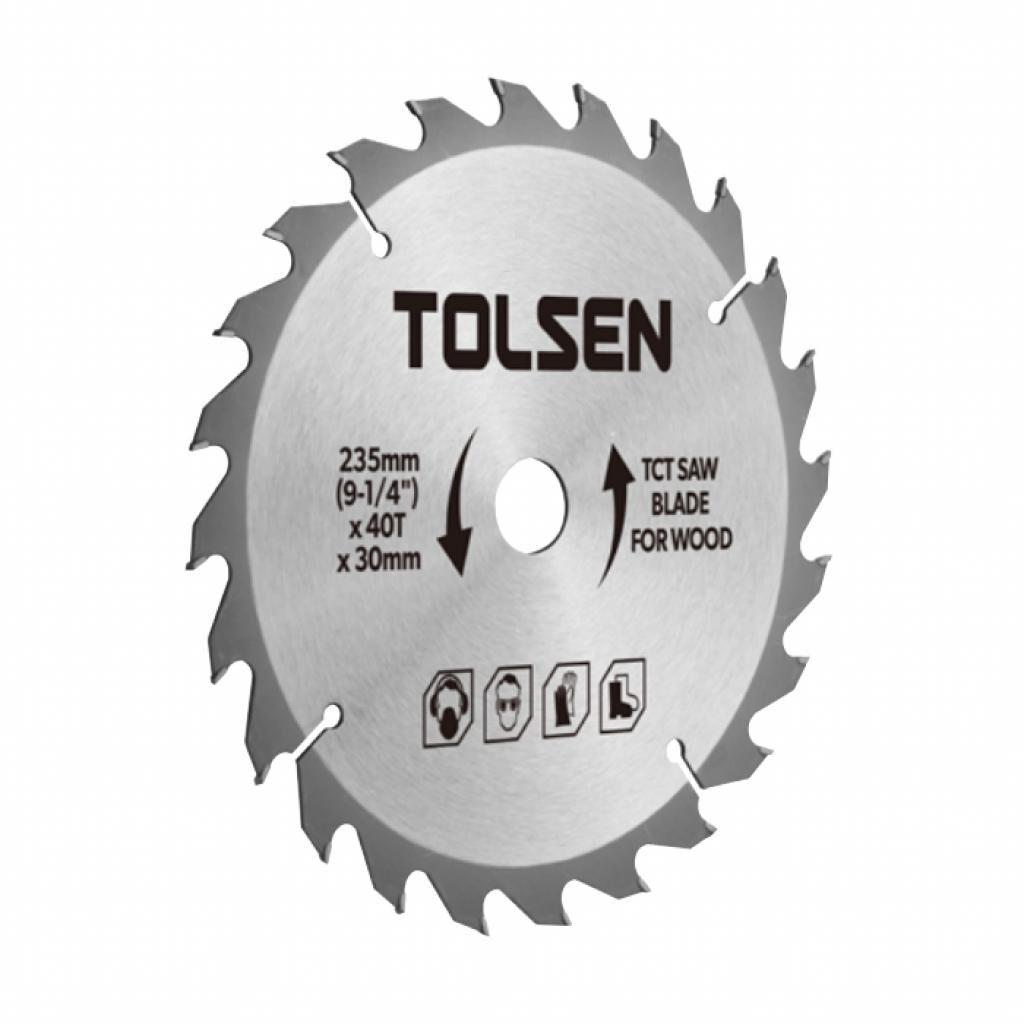 Диск Tolsen пильный с ТВС напайками по дереву 235х60Т*30мм (76451)